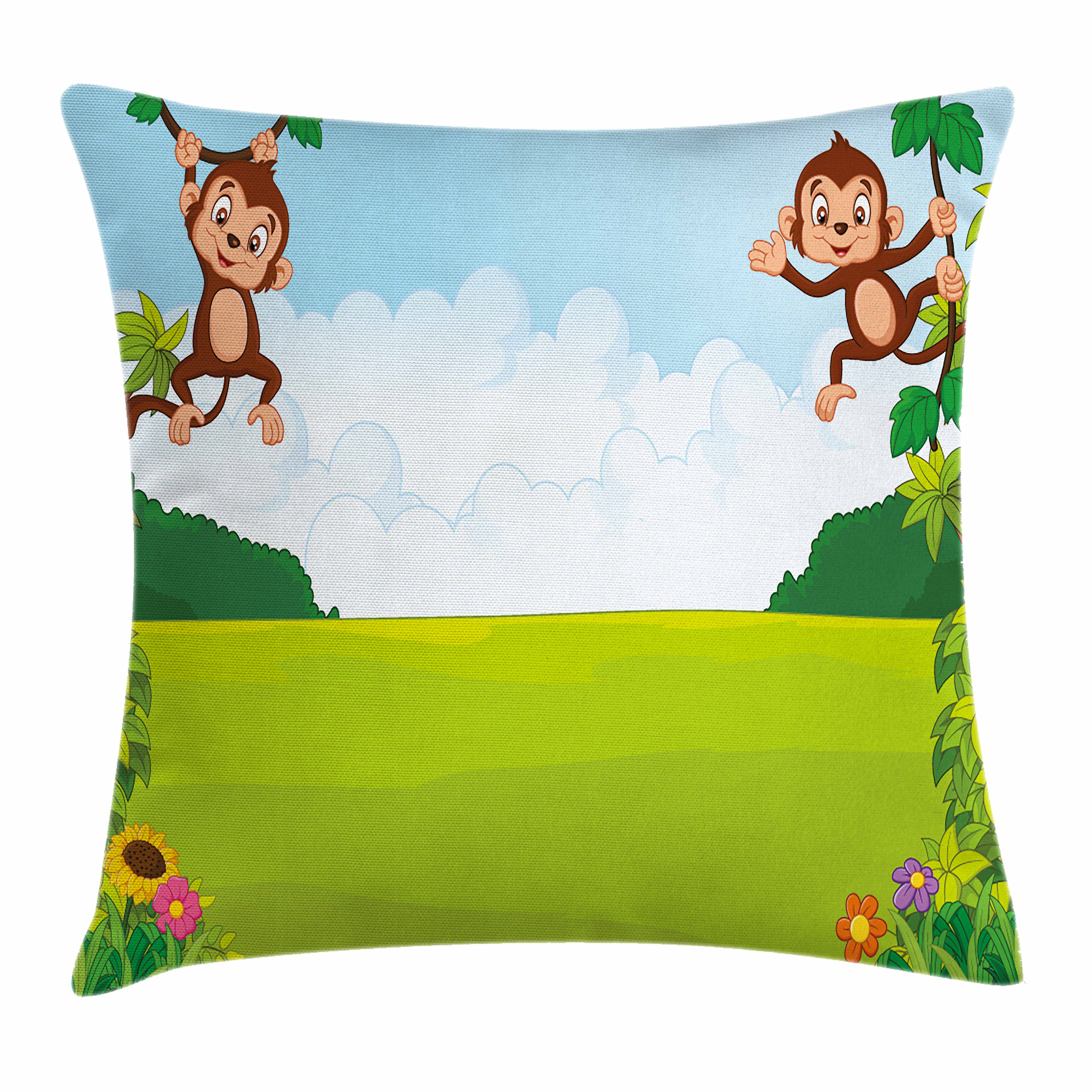 Nursery Throw Pillow Cushion Cover, Cute Playful Monkeys Hanging on Vines Young Kid Chimpanzees Summer Fun, Decorative Square Accent Pillow Case, 16 X 16 Inches, Pale Blue Brown Green, by Ambesonne