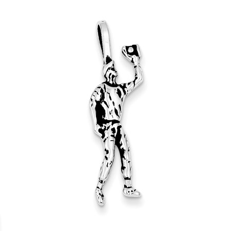 Sterling Silver Antiqued Baseball Player Charm (1.2in long x 0.4in wide) Sterling Mens Baseball