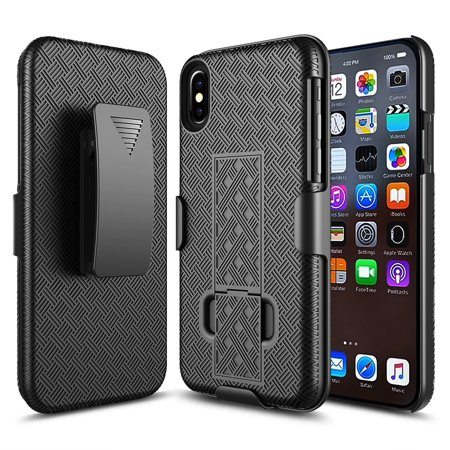 Black Shield Case (Apple IPhone X; 10 Plus Slim Hard Shell Shield Layer Holster Case with Kickstand Black )