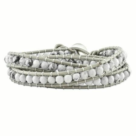White Howlite Beaded and Leather Multi-wrap Bracelet -