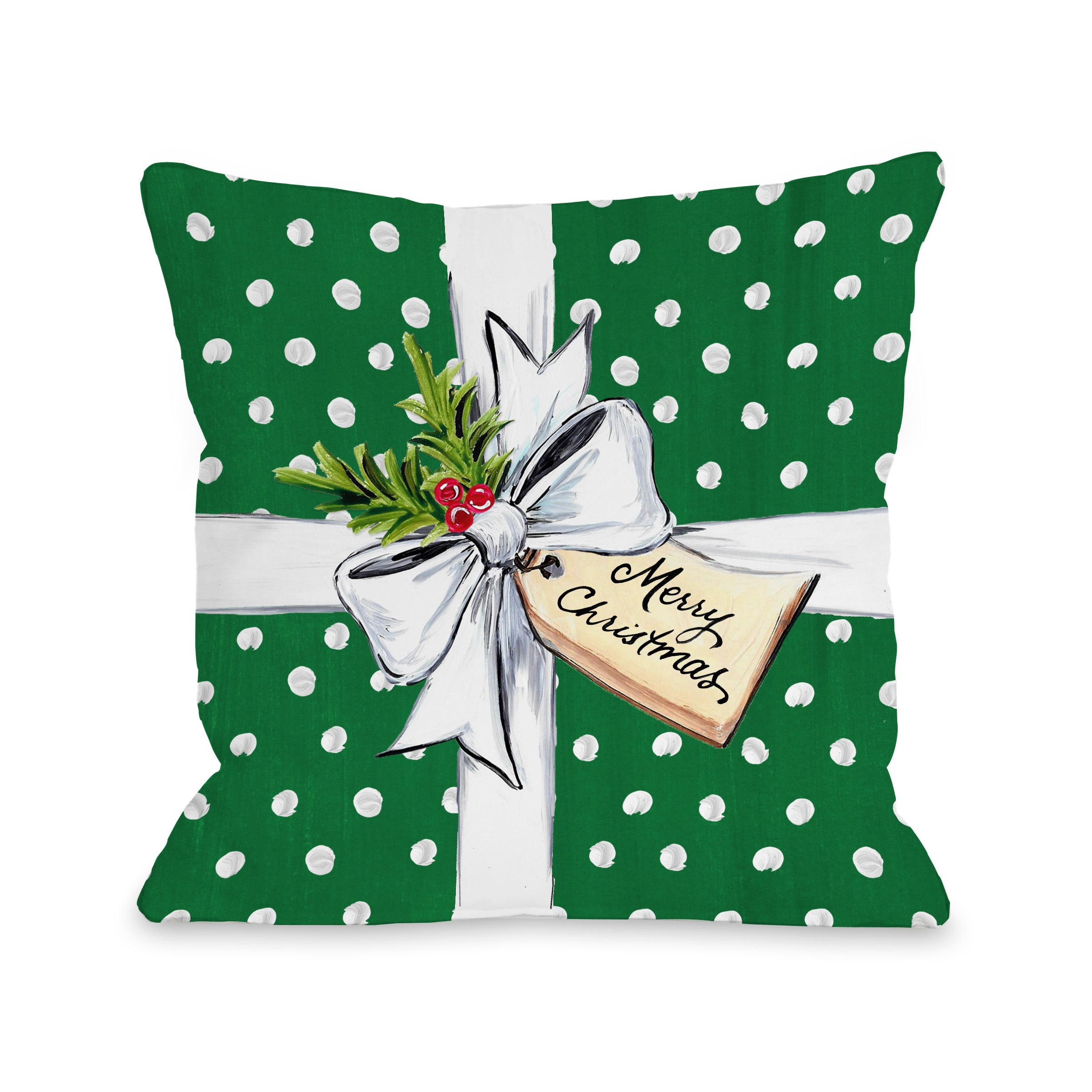 Polka Dot Bow - Green 18x18 Pillow by Timree Gold