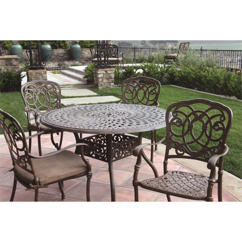"Darlee Florence 5 Piece 48"" Round Patio Dining Set with Seat Cushion"
