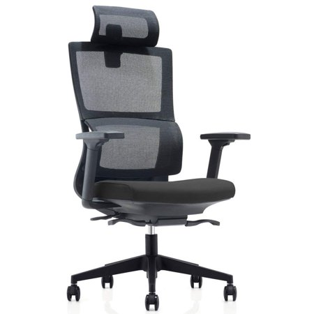 (CMO High Back Mesh Ergonomic Office Chair with 2-to-1 Synchro-Tilt Control & Headrest, Big and Tall 360 Degree Swivel)