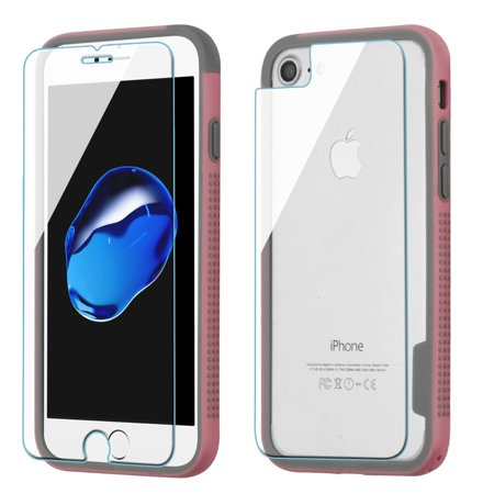 Surround Aluminum Bumper Shield (Surround Bumper Shield + Front and Back Tempered Glass Screen Protector for iPhone 8 / 7 - Pink )