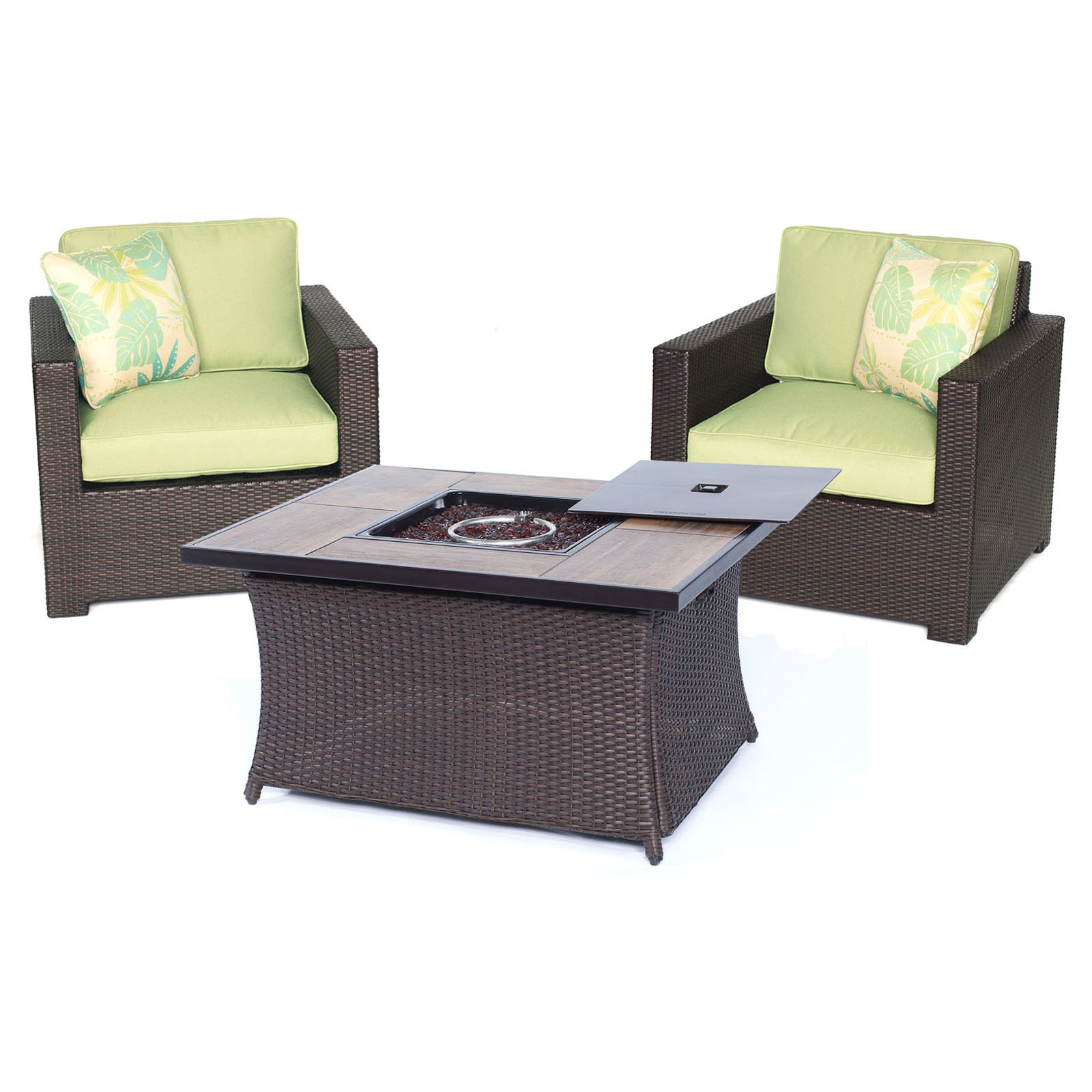 Hanover Metropolitan 3-Piece Woven Fire Pit Chat Set with Glazed Faux-Wood Tile Top