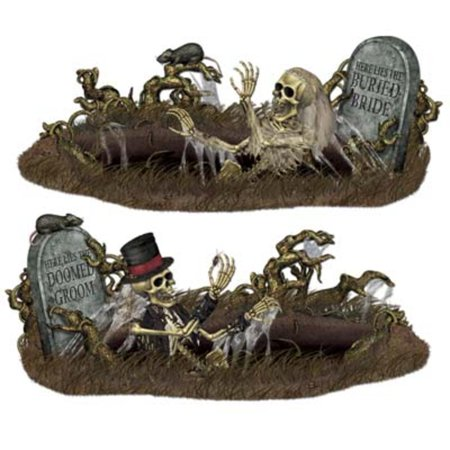 Club Pack of 24 Insta-Theme Doomed Groom and Buried Bride Halloween Prop Decorations 63.6