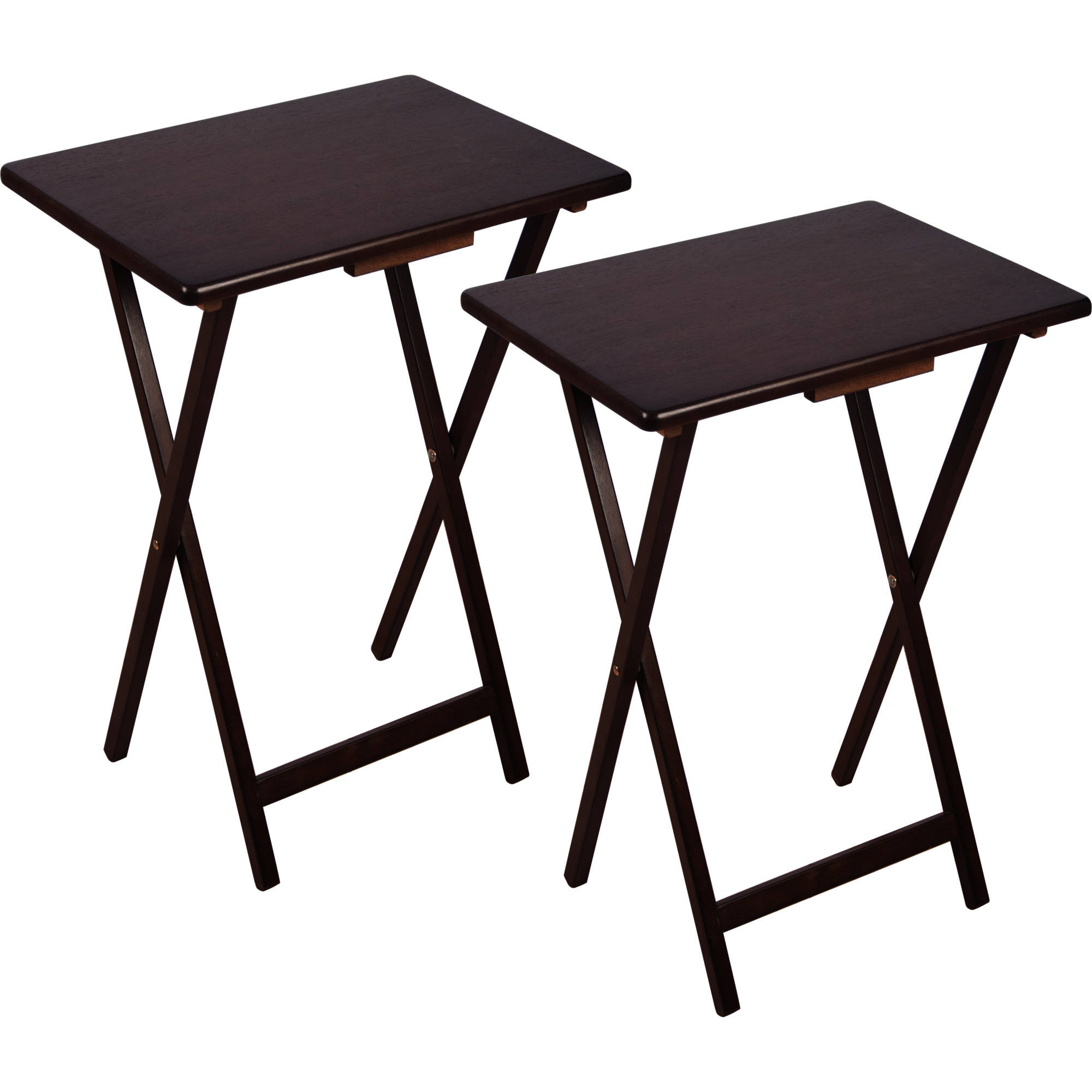 2 piece folding wood tv laptop tray table stand set for Table retractable