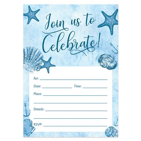 Beach Invitations with Envelopes ( Pack of 25 ) Any Occasion Large 5x7