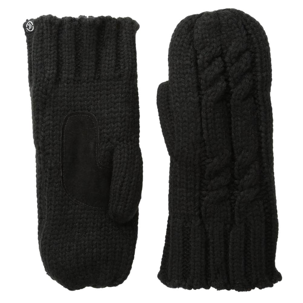Isotoner Womens Chunky Black Cable Knit Mittens with Sherpasoft Lining