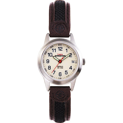 Timex Women's Expedition Metal Field Mini Watch, Brown Nylon Leather Strap by Timex