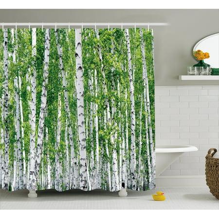 Birch Tree Shower Curtain Fresh Green Leaves Summer Forest Rural Landscape Lush Environmental Image