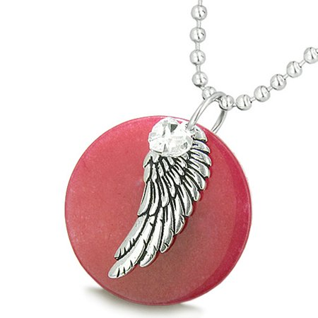 Angel Wing Cherry Red Quartz Medallion White Crystals Heart Feather 22 Inch Pendant Necklace for $<!---->