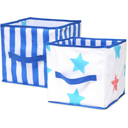 Little Bedding by Nojo Boy Stars Print Collapsible Storage Bin, -