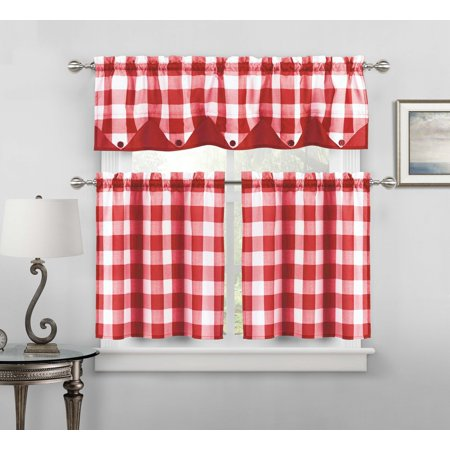 - Sheer Small Red and White Three Piece Kitchen/Cafe Tier Window Curtain Set Gingham Check Pattern, 1 Valance, 2 Tiers 24inch L