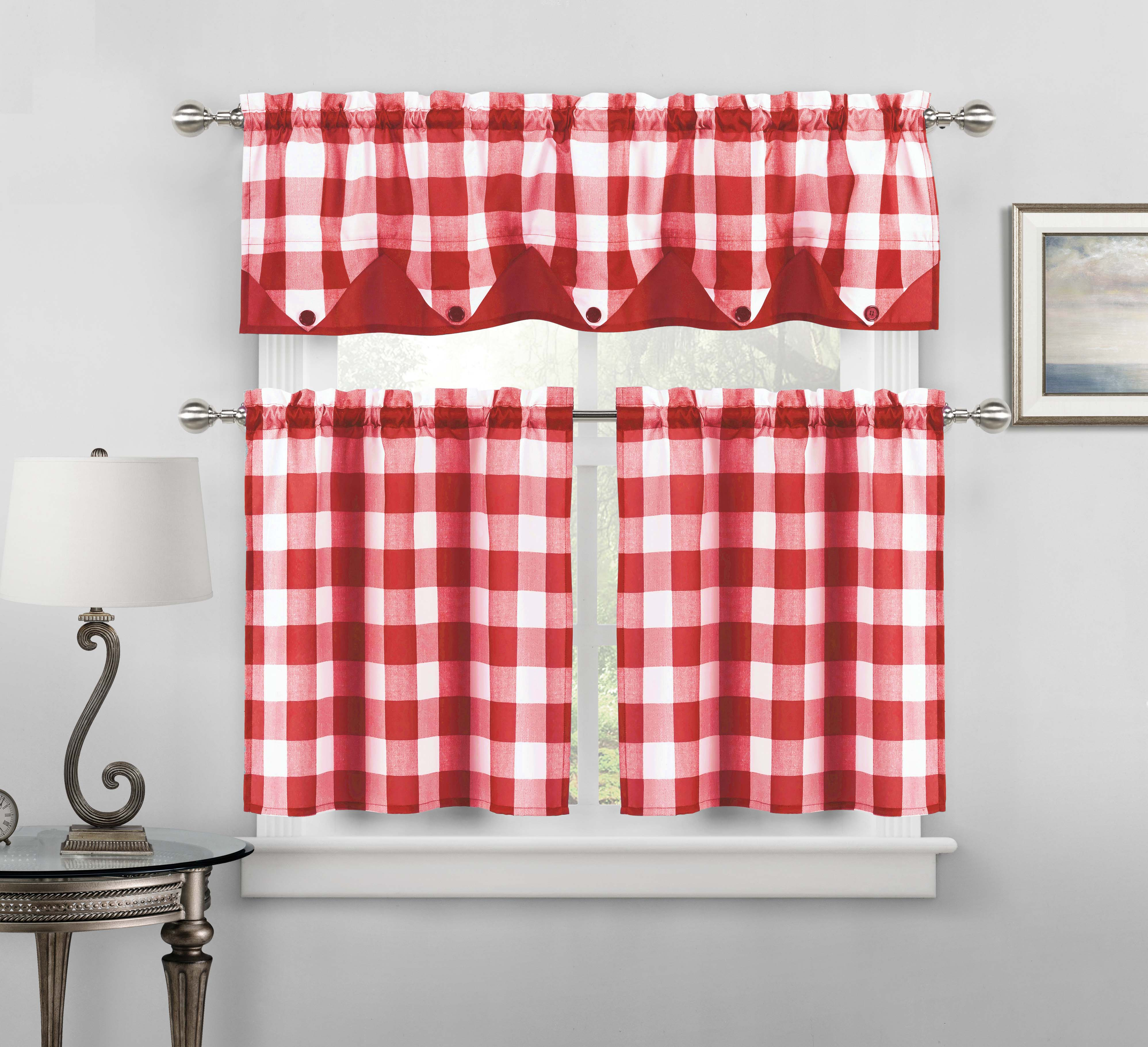 Sheer Small Red and White Three Piece Kitchen/Cafe Tier Window Curtain Set Gingham Check Pattern, 1 Valance, 2 Tiers 24inch L