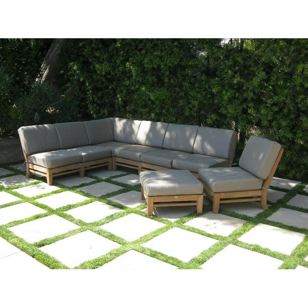 Grade-A Teak Wood Ramled Sectional 7 Piece Sofa Set - 2 Love Seats