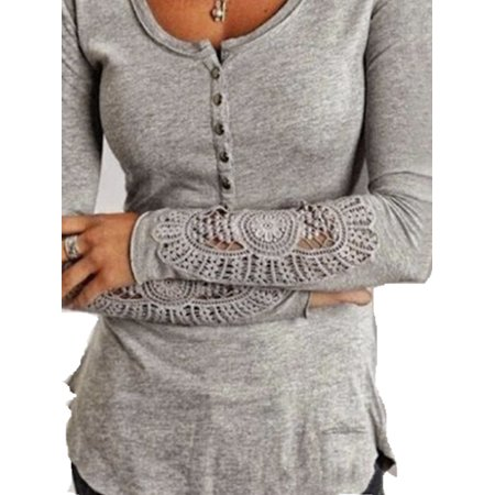 Women Round Neck Button Long Sleeve Lace Hollow Out Embroidery Blouses