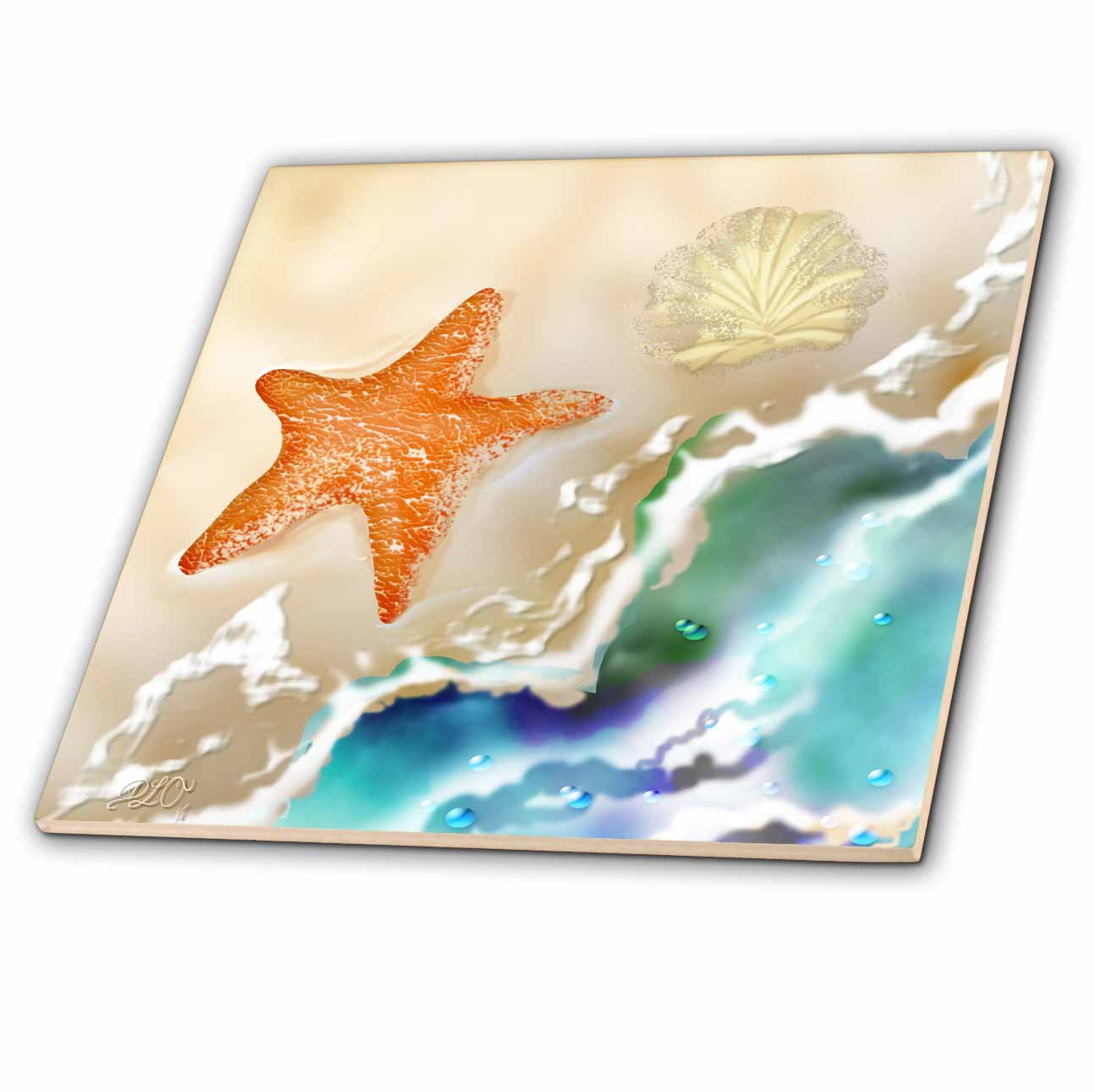 3dRose Starfish and Seashell in the Sand near the Ocean Art - Ceramic Tile, 6-inch