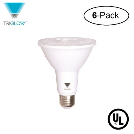 TriGlow T97105-6 (6-Pack) 12-Watt (75W Equivalent) PAR30 LED Bulb, 850 Lumen, DIMMABLE, Daylight Color (5000K), UL Listed, Pack of 6 LED Light Bulbs