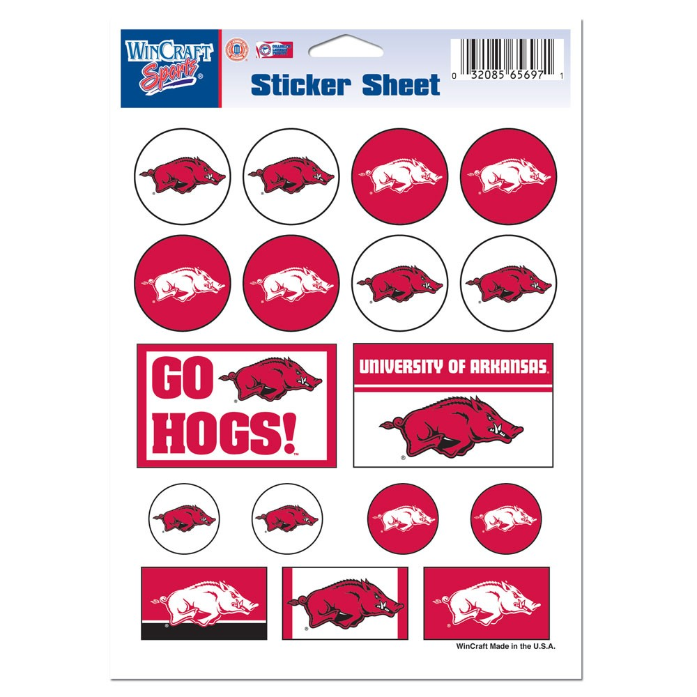 Arkansas Razorbacks Official NCAA 5 inch x 7 inch  Sticker Sheet by WinCraft