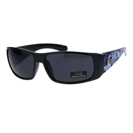 Locs Mens Gangster Blue Bandana Print Arm Narrow Rectangular Cholo Plastic Sunglasses (Narrow Sunglasses For Men)