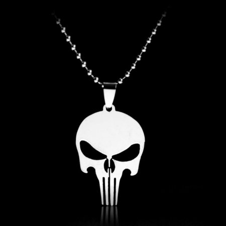 The Punisher 2-Necklace Stainless Steel Silver Pendant Silver Skull Head Jewelry. J-252-TP