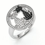Sterling Silver & CZ Cat Ring