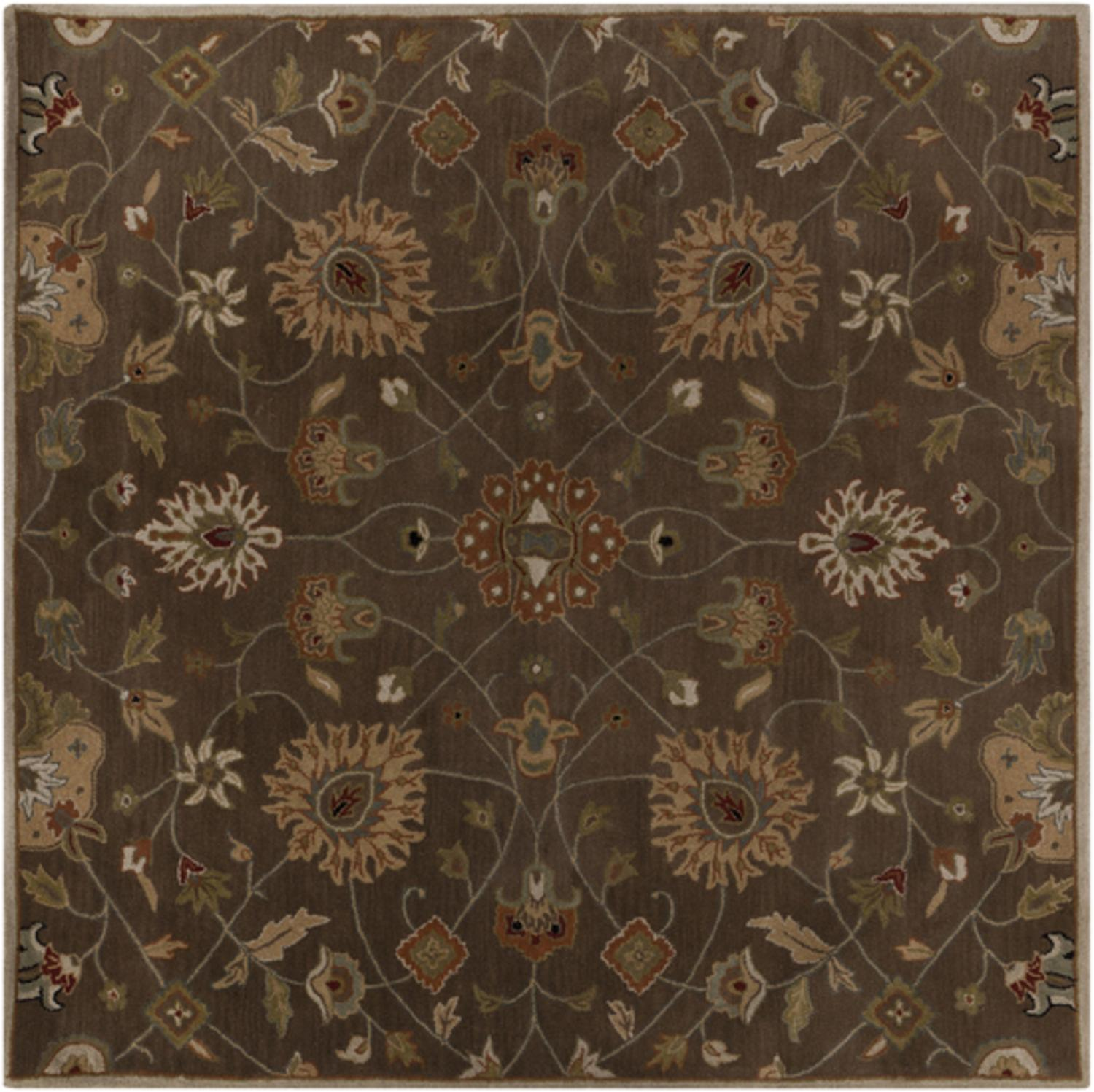 4' x 4' Valeria Safari Tan and Dark Brown Hand Tufted Square Wool Area Throw Rug