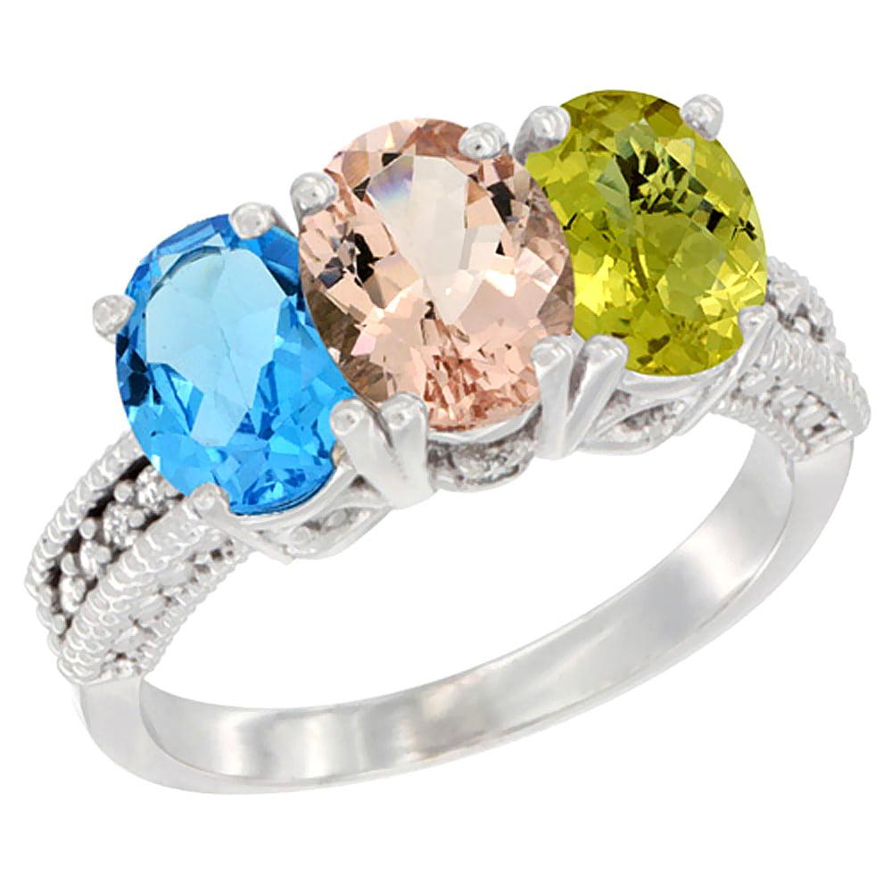 10K White Gold Natural Swiss Blue Topaz, Morganite & Lemon Quartz Ring 3-Stone Oval 7x5 mm Diamond Accent, sizes 5 10 by WorldJewels