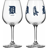 Boelter Brands MLB Set of Two 12 Ounce Wine Glass Set, Detroit Tigers
