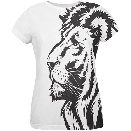 Big Black Lion Side All Over Womens T-Shirt