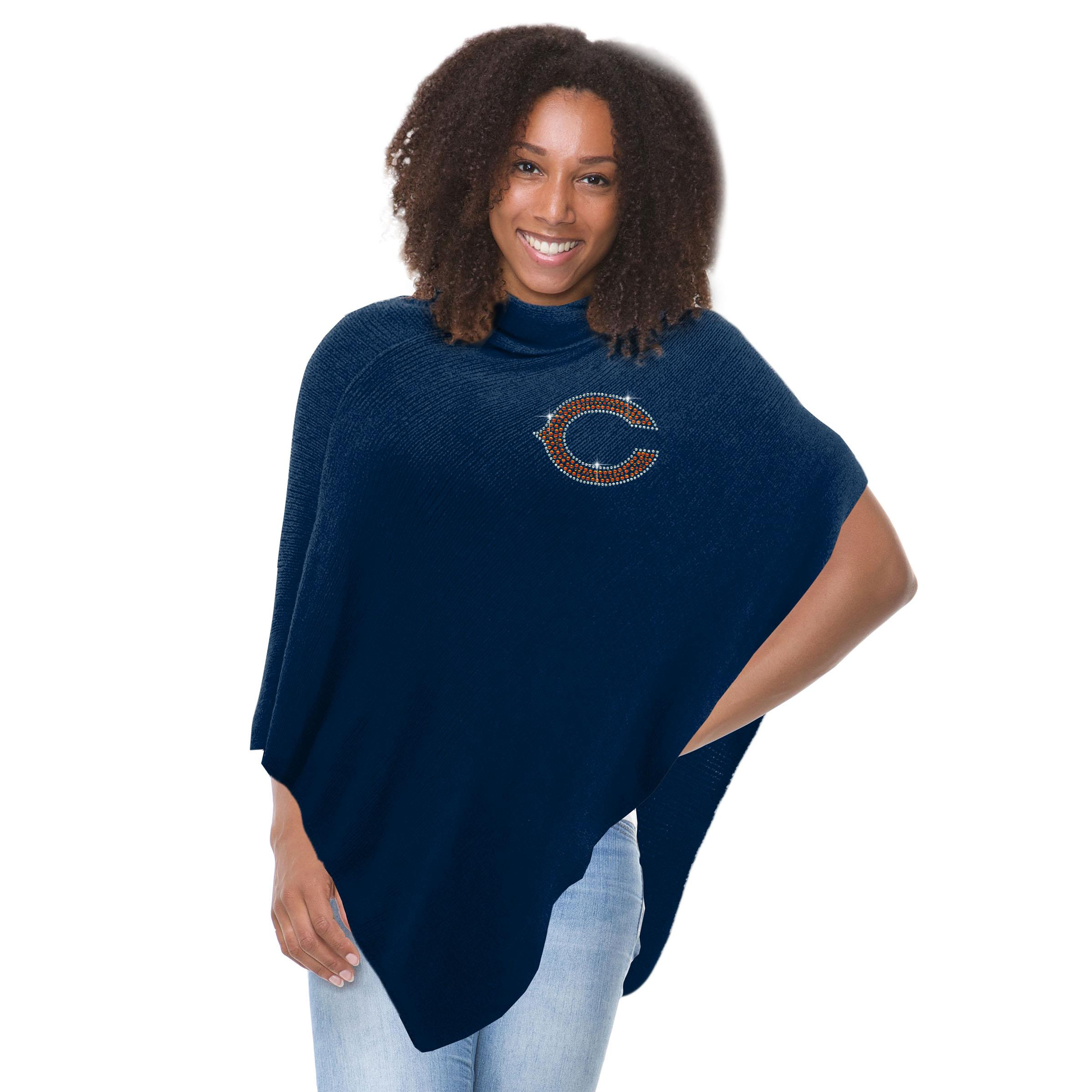 NFL Chicago Bears Crystal Knit Poncho, 42 x 38-Inch, Navy by Little Earth