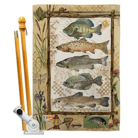 Breeze Decor BD-OU-HS-109056-IP-BO-D-US18-SB 28 x 40 in. Fishing Adventures Nature Outdoor Impressions Decorative Vertical Double Sided House Flag Set & Pole Bracket Hardware - image 1 of 1