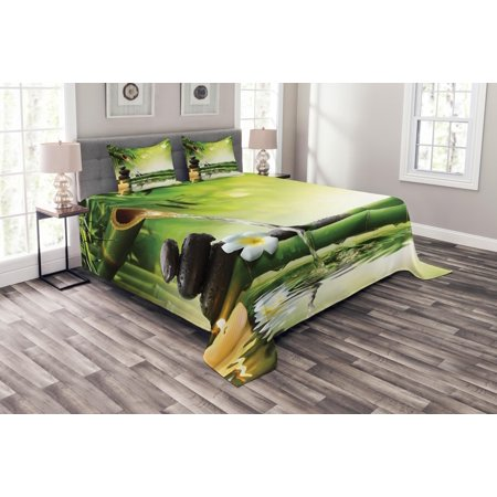 Spa Bedspread Set Meditation And Zen Picture Of Bamboo