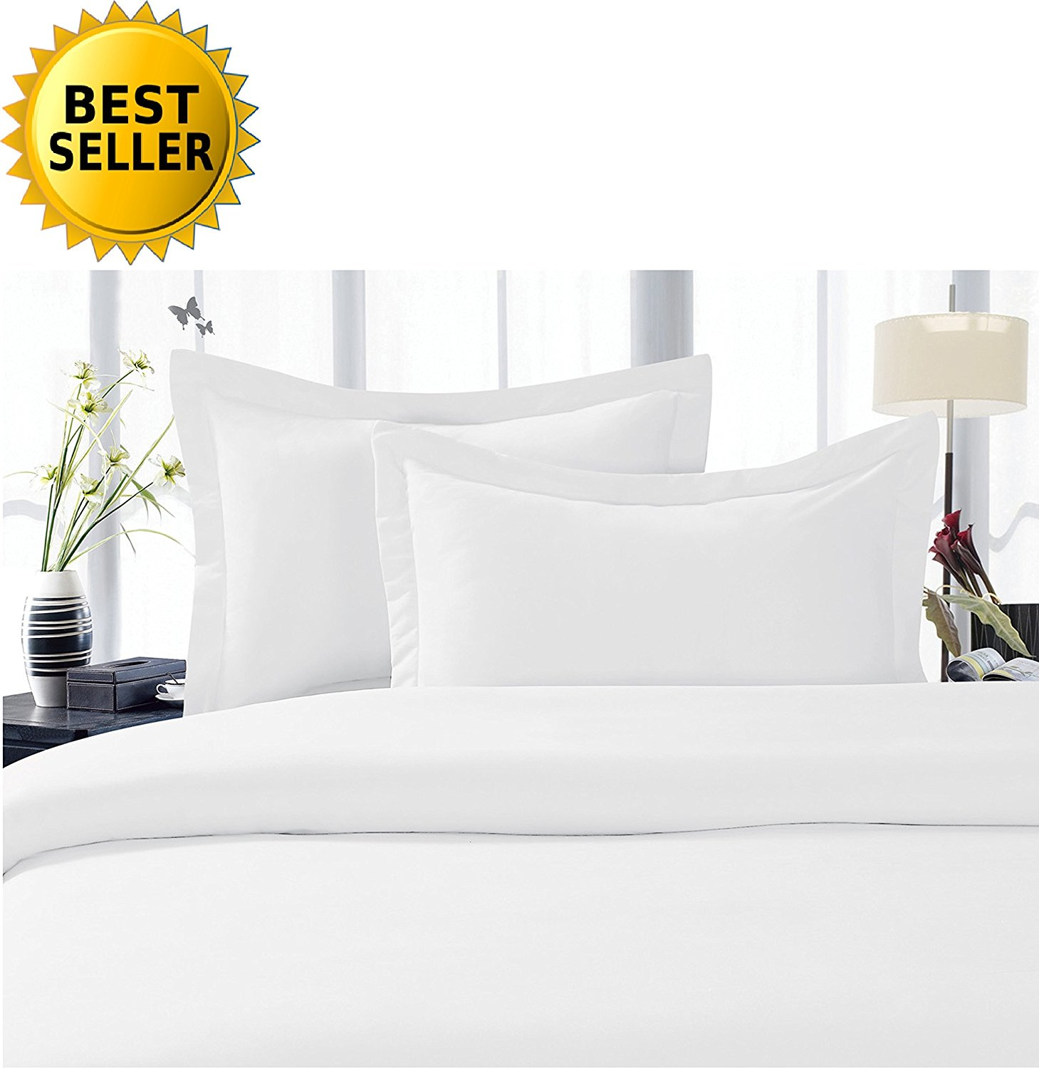 Celine Linen Best, Softest, Coziest Duvet Cover Ever! 1500 Thread Count Egyptian Quality Luxury Super Soft WRINKLE FREE 3-Piece Duvet Cover Set , Full/Queen, White