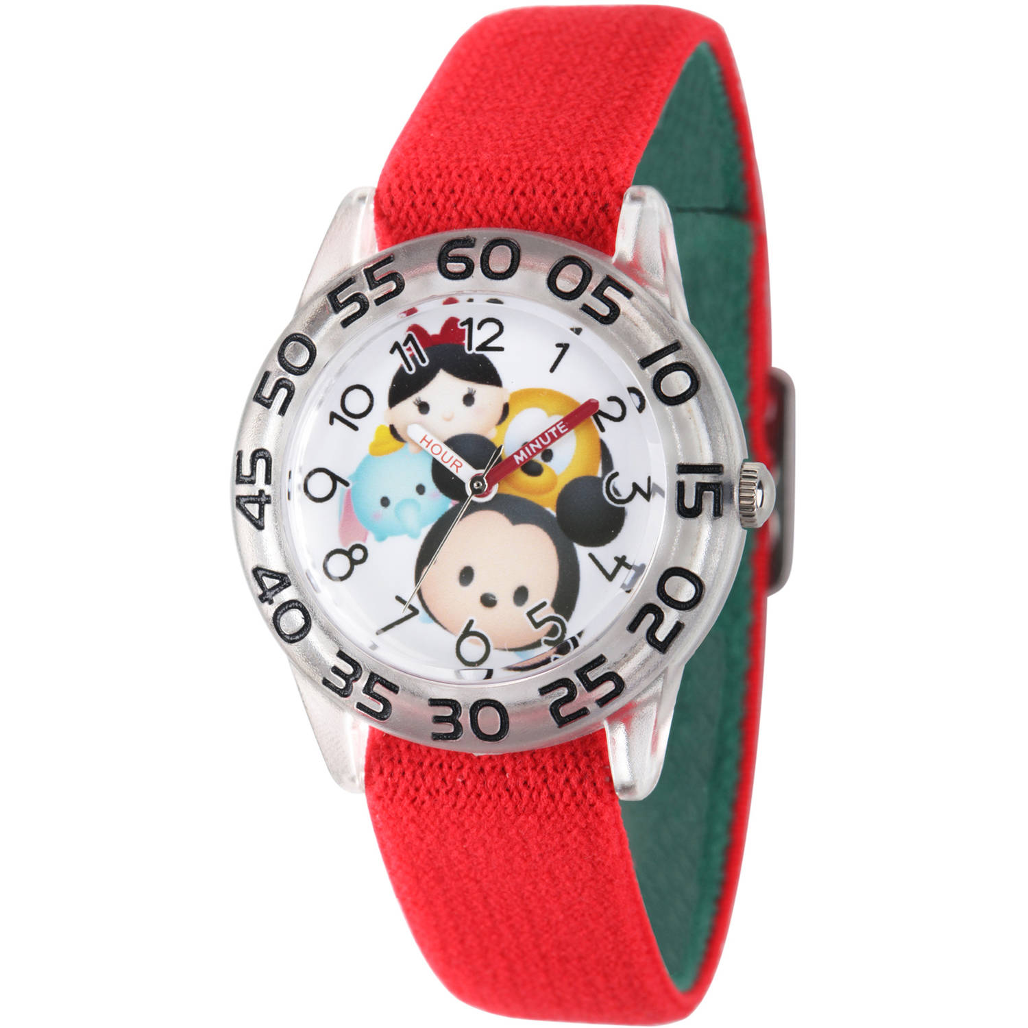 Disney Tsum Tsum,  Mickey Mouse, Dumbo, Mike Wazowski and Snow White Girls' Clear Plastic Time Teacher Watch, Reversible Red and Green Nylon Strap