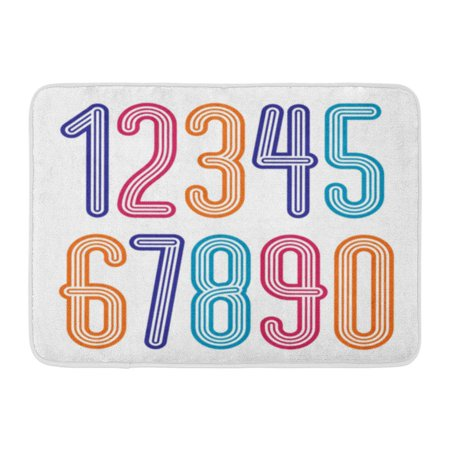 GODPOK Disco Digits Modern Numerals Collection Funky Tall from 0 to 9 Best for Created Using Triple Stripy Rug Doormat Bath Mat 23.6x15.7 inch (Triple Mat)