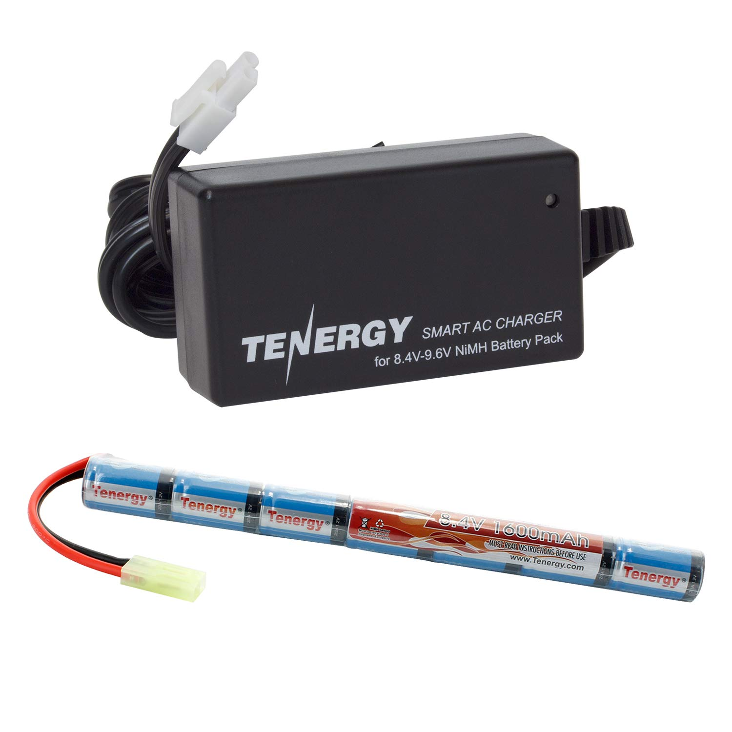 Tenergy Airsoft Battery 8.4V 1600mAh NiMH Stick Battery High Performance Stick Style Batteries w/ Mini Tamiya Connector, Replacement Battery for Airsoft Rifle AEG Guns + 8.4V-9.6V NiMH Battery Charge