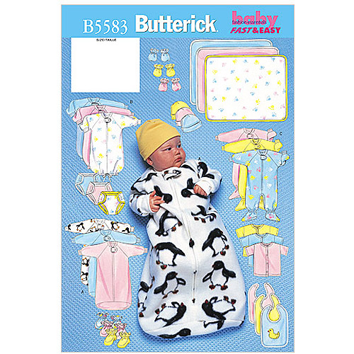 Butterick Pattern Infants' Bunting, Jumpsuit, Shirt, Diaper Cover and Blanket, NB0 (NB, S, M)
