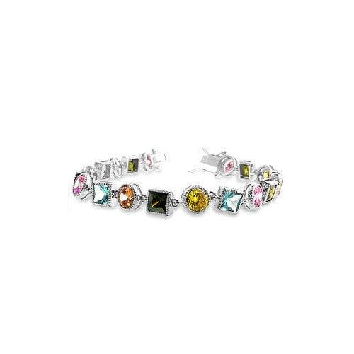 Kate Bissett Silver-Tone Multi-Colored Cubic Zirconia Bracelet