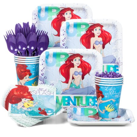 Little Mermaid Standard Birthday Party Tableware Kit (Serves 8) - The Little Mermaid Party Theme