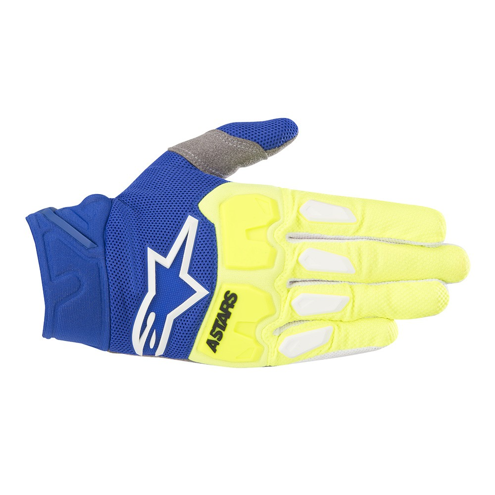 Alpinestars Racefend S8 MX Offroad Gloves Yellow/Blue