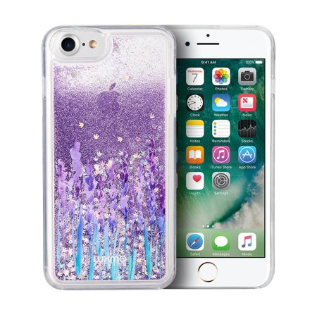 Insten Waterfall Liquid Love & Lavender TPU Rubber Candy Skin Case Cover For Apple iPhone 7/8, Purple