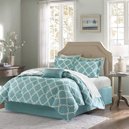 turquoise king size comforter set Annissa Collection Luxurious 10 Piece Turquoise Geometric  turquoise king size comforter set