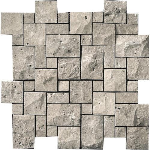 Emser Tile Natural Stone Random Sized Travertine Mosaic Tile in Silver