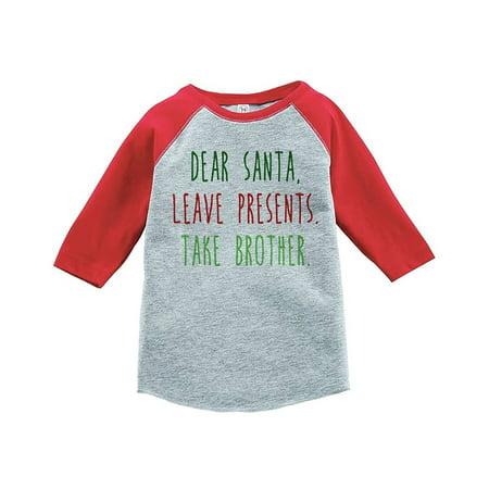 Custom Party Shop Youth Funny Dear Santa Christmas Raglan Shirt Red - Medium (10-12) T-shirt - Santa Uniform