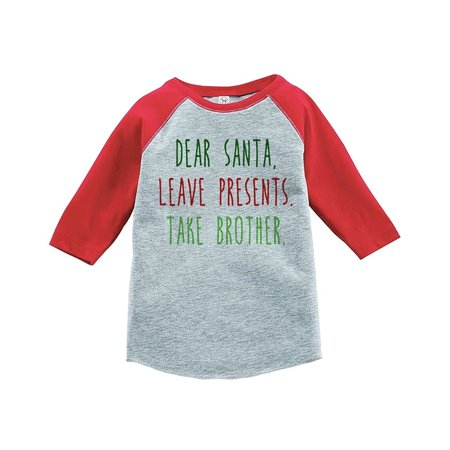 Custom Party Shop Youth Funny Dear Santa Christmas Raglan Shirt Red - 2T
