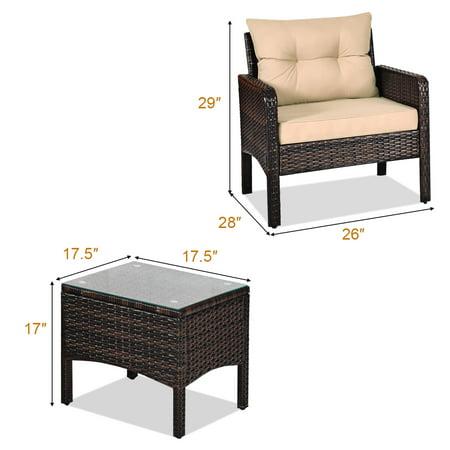Costway 3PCS Outdoor Rattan Conversation Set Patio Garden Furniture Cushioned Sofa Chair - image 10 of 10
