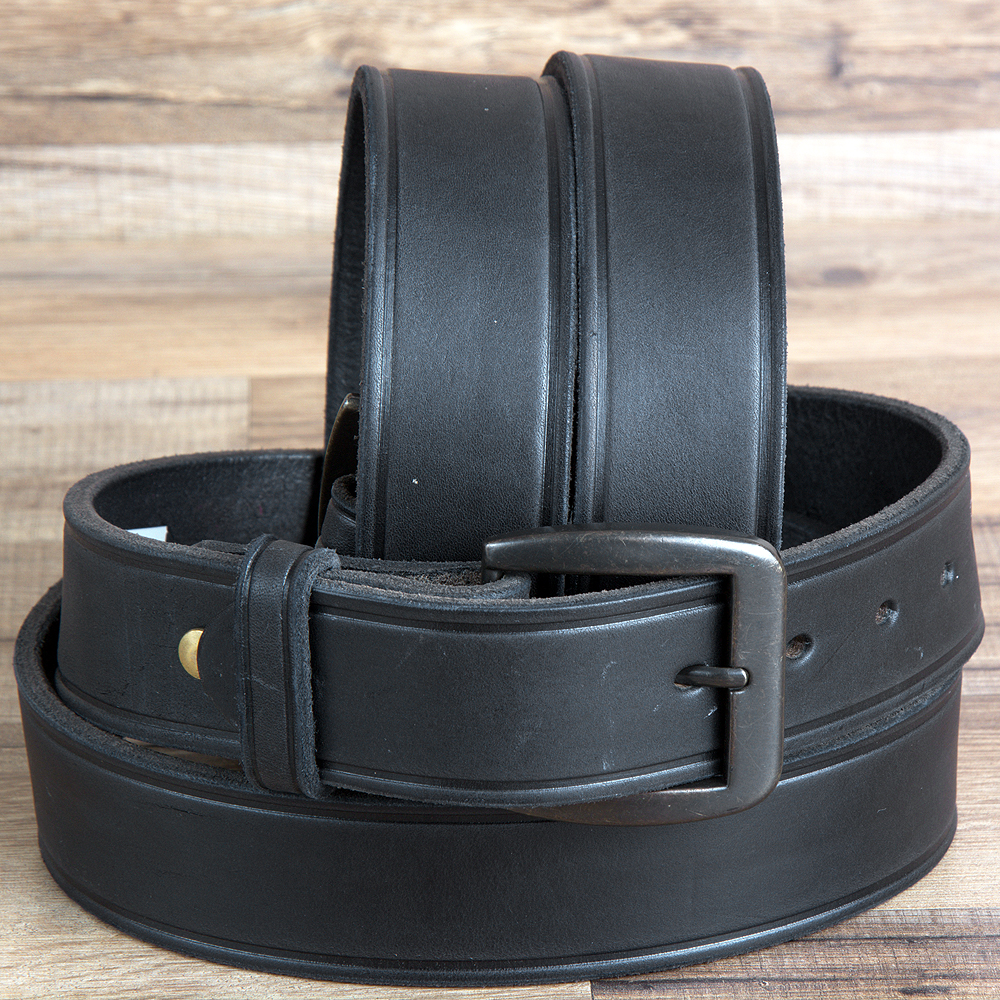 46 inch. 3D 1 1/2  inch. BLACK MENS WESTERN BASIC LEATHER BELT BRASS TONE REMOVABLE BUCKLE