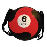 Six Pound FitBALL Red Textured Medicine Ball w Adjustable Straps